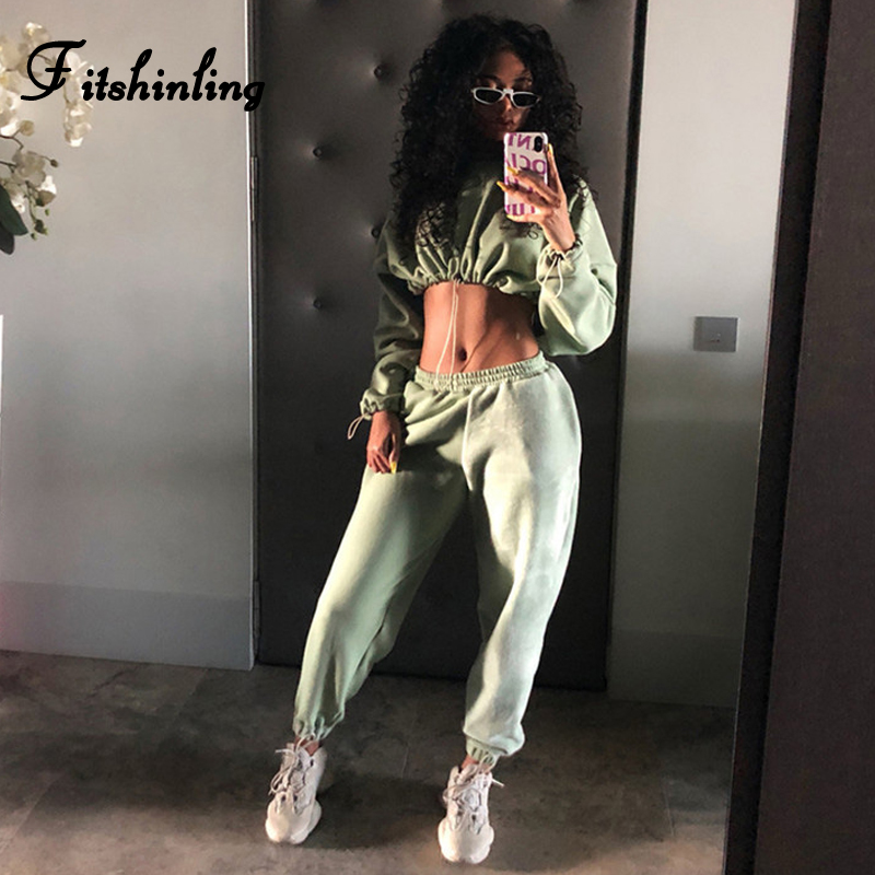 Fitshinling Athleisure Casual Winter Tracksuit Women Solid Slim Crop Sweatshirt Sweatpants 2 Piece Matching Sets Sportswear Suit