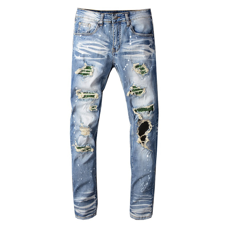 Sokotoo Men's Crystal Holes Ripped Jeans Slim Skinny Patchwork Distressed Blue Stretch Denim Pants