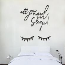 Creative DIY Sleep Eyelashes INS chidrens room bedroom living TV background wall decoration 3D acrylic sticker