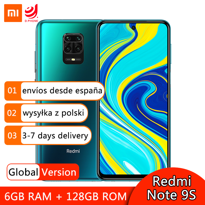 "Global Version Xiaomi Redmi Note 9S 9 S 6GB 128GB Smartphone Snapdragon 720G Octa Core 48MP Quad Cameras 6.67"" Screen 5020mAh(Hong Kong,China)"