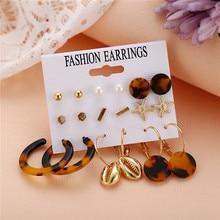 HOCOLE Fashion Gold Color Geometric Earring Set For Women Leopard Print Acrylic Pearl Metal Dangle Earring Jewelry 2019 Brinocs недорого