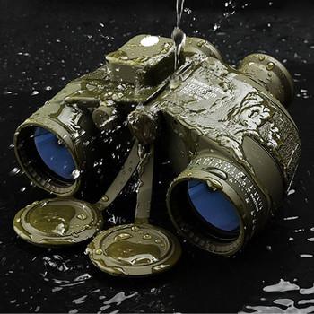 Lornetka wojskowa 10X50 kompas od azymutu wodoodporny odkryty Camping polowanie słabe oświetlenie poziom luneta noktowizyjna tanie i dobre opinie Binoculars