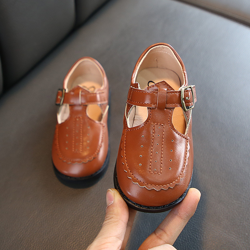 2020 Spring New Girls Soft Leather Shoes Vintange Baby Small Shoes British Style Children Footwear All-match Party Shoes D02222