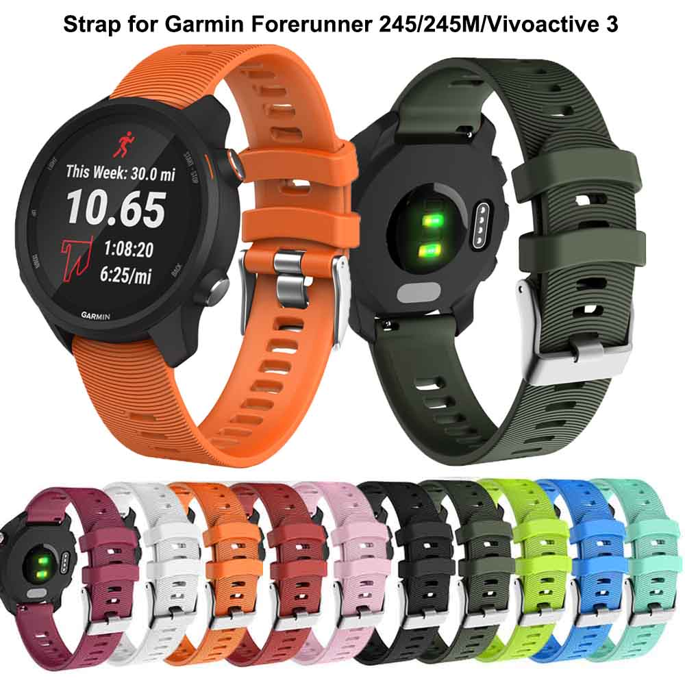 Colorful 20mm WatchBands Strap For Garmin Forerunner 245 245M 645 Music Vivomove 3 HR Sport Silicone Smart Watchband Bracelet