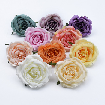 2/5/10 Pieces 7CM Silk roses head wedding decorative flowers bride brooch wholesale artificial plants for christmas home decor image