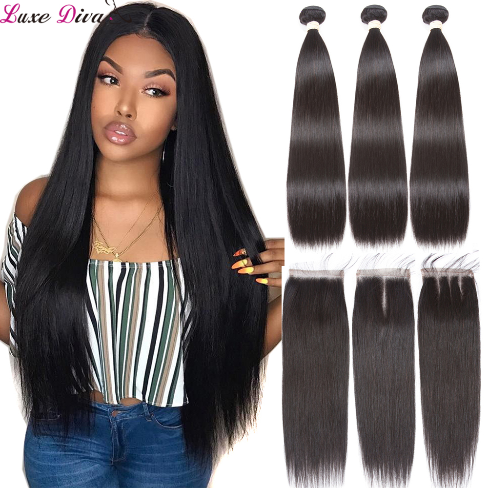 Straight 3 And 4 Bundles With Closure Brazilian Hair Weave Bundles With Closure Luxediva Remy Human Hair Long Size 28inch Hair