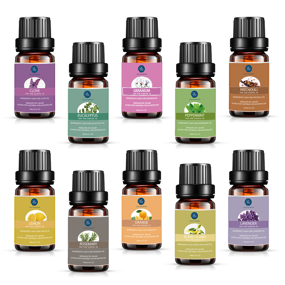Lagunamoon 10ML 10Pcs Gift Set Pure Essential Oils Diffuser Humidifier Massage Aroma Orange Peppermint Patchouli Lavender Lemon