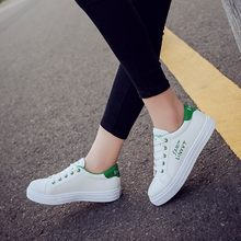 2020 spring new tenis feminino lace-up white shoes woman PU Leather solid color female shoes casual women shoes sneakers(China)