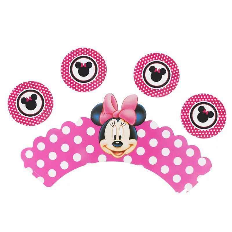 Kartun Disney Minnie Mouse Tema Pesta Pesta Ulang Tahun Anak-anak Peralatan Makan Sekali Pakai Ulang Tahun Perlengkapan Dekorasi Pesta
