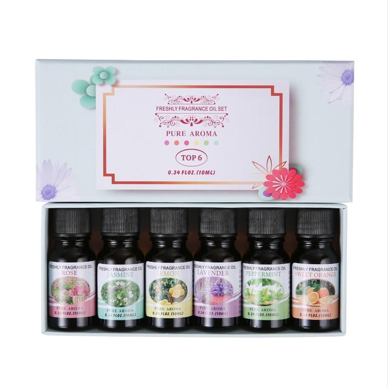 6 * 10ml Essential Oil Kit Humidifier Massage Aromatherapy Essential Oil Rose Jasmine Lemon Sweet Orange Lavender Mint