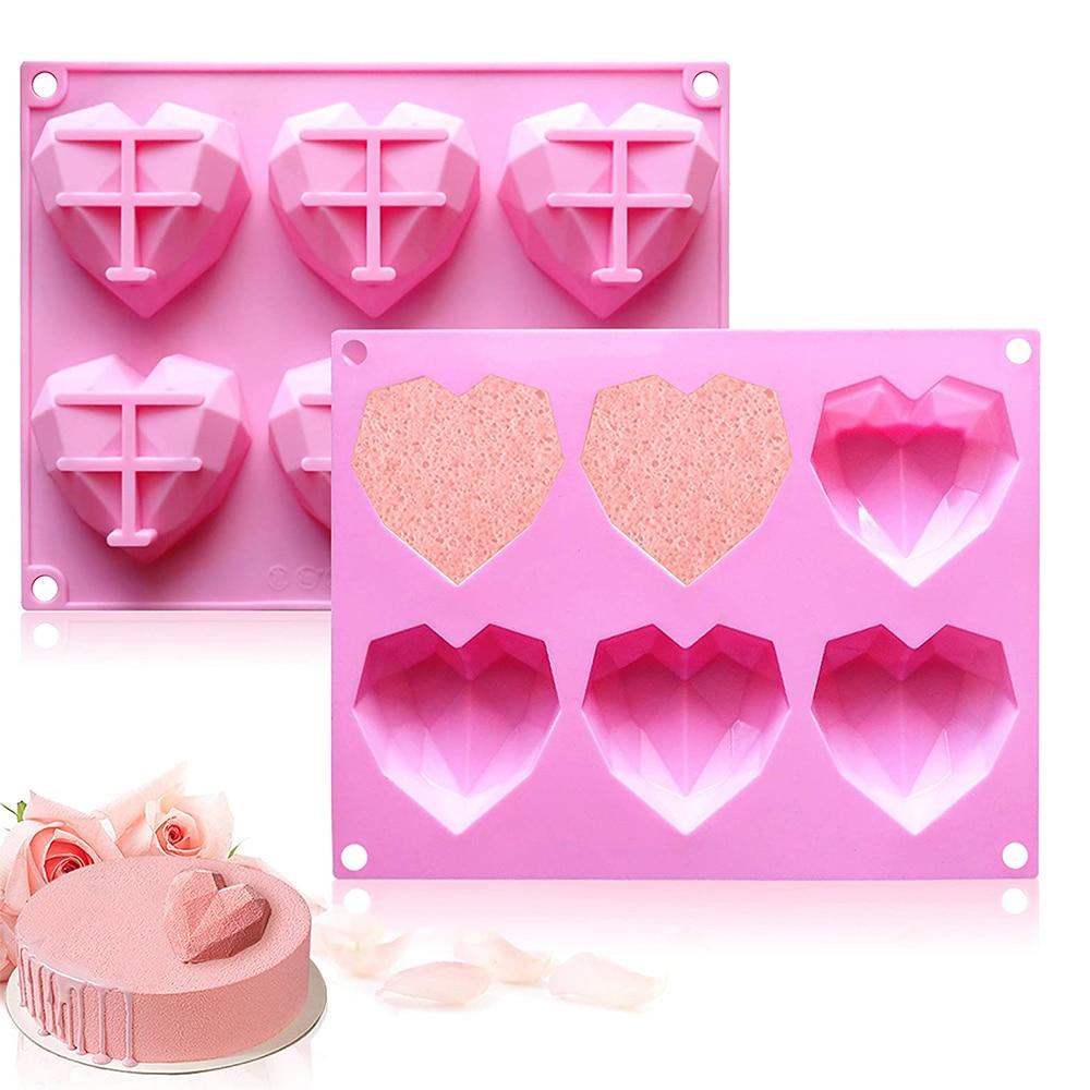 3D Diamond Love Heart Shape Silicone Molds for Baking Sponge Chiffon Mousse Dessert Cake Molds Food Grade Bakeware Accessories
