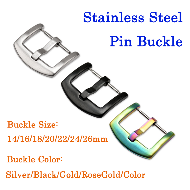 Metal Clasp 14mm 16mm 18mm 20mm 22mm 24mm 26mm High-quality Hydraulic Buckle Stainless Steel Pin Buckle Watch Accessories