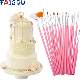 15 sztuk zestaw ciasto kremówka szczotka DIY rzemiosło cukrowe narzędzia do pieczenia ciasto pióro pędzel piekarski do malowania kremówki tanie i dobre opinie FAIS DU Formy Ce ue Lfgb Ciasto narzędzia Ekologiczne Zaopatrzony STAINLESS STEEL DU370 Plastic+Stainless steel Pink 15pcs set