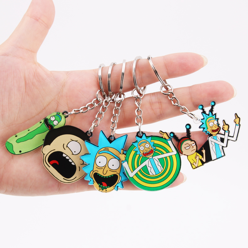 Bag Pendant Keyring Car-Key-Chain Gifts Morty Rick Acrylic Anime Girl Boy Children Sci-Fi