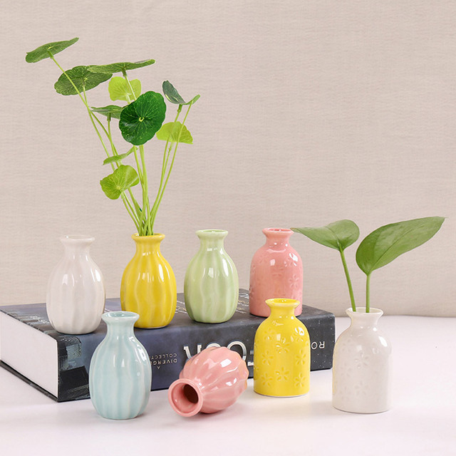 Creative Ceramic Vase Simple Office Home Desktop Decoration Small Crafts Ceramic Aromatherapy Bottle Dried Flower Flower #YL10 2