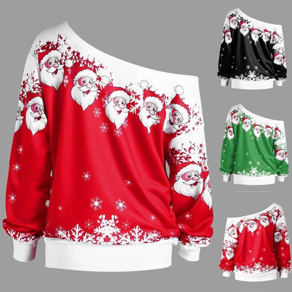 2019 Vrouwen Jumper Kerst Sweatshirt Trui Tops Jas Snowflake Winter Off Shoulder Warm Korte Skew Kraag Sweater Blouse