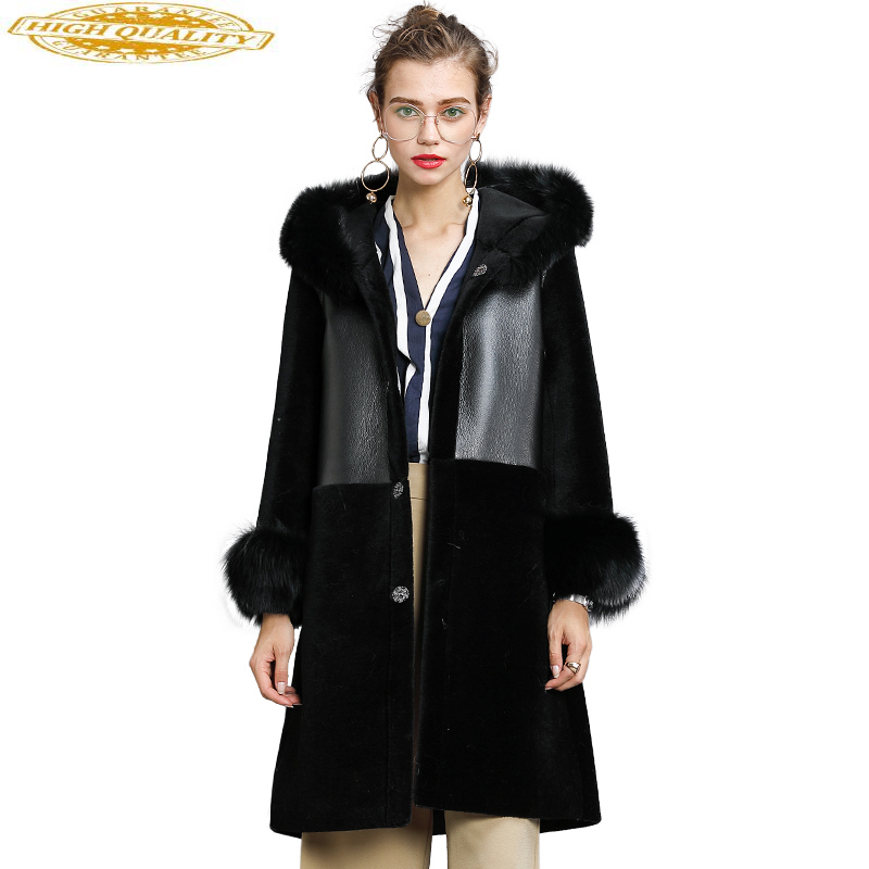 2020 Winter Natural Wool Jackets For Women Real Fur Coat Thicken Warm Fur Coats PU Leather Jacket Fox Fur Hooded WYQ960
