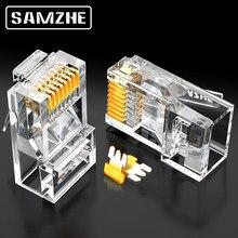 SAMZHE-connecteur RJ45 modulaire Cat6 8P8C pour câble Ethernet, connecteur à sertir plaqué or, 1Gbps CAT 6 Gigabit vrac