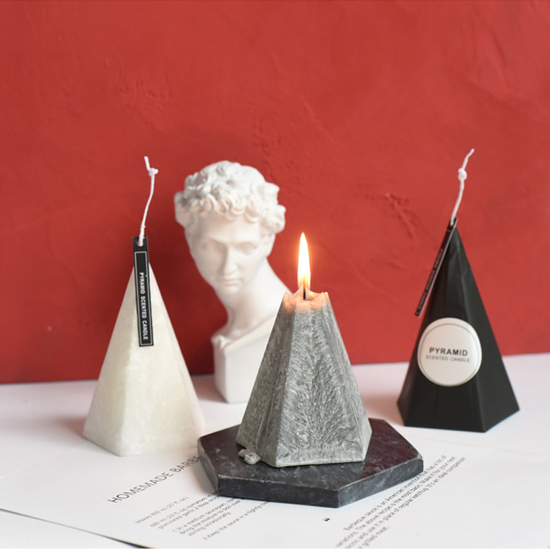 Nordic Geometric Cone Scented Candles Home Decoration Yankee Candle Birthday Romantic Wedding Candles Candle Wax