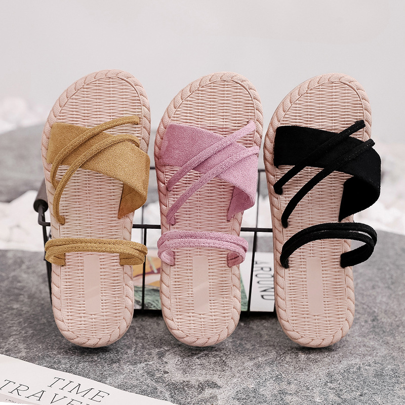 Casual Plain Linen Slippers Women Flax Slippers Summer Beach Ladies Shoes Sandals Elegant Holiday Playa Straw Dames Flip Flops