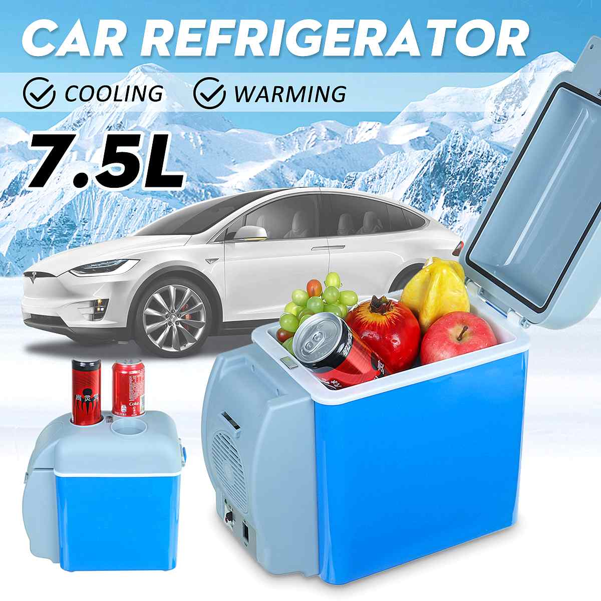 12V 7.5L Mini Portable Refrigerator Cooler Warmer Freeze Heating Fridge Box For Car Home Truck Thermoelectric Electric Fridge