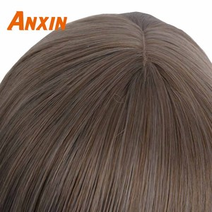Image 5 - Anxin Long Curly Synthetic Wigs with Bangs Brown Womans Hair Heat Resistant High Temperature Kinky Cosplay Wig for Women
