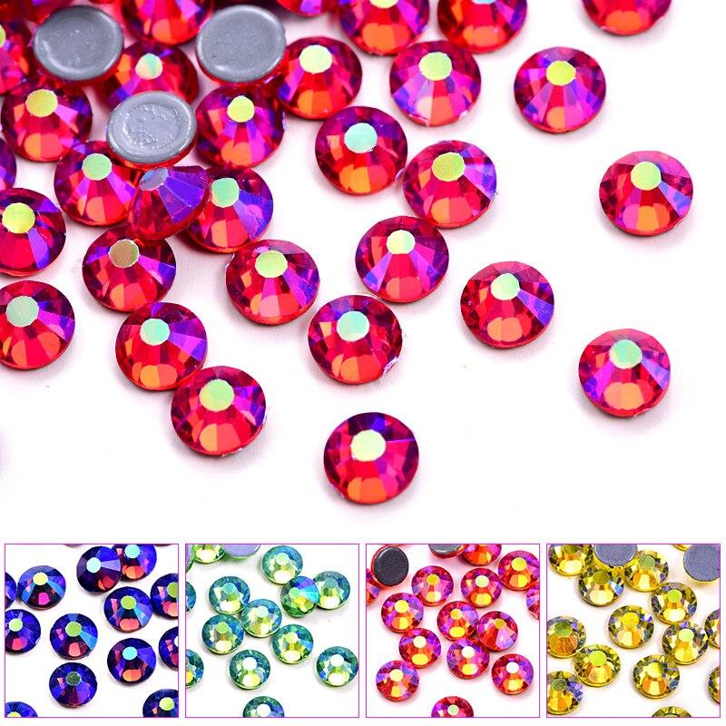 Высококачественные Стразы AB DMC с горячей фиксацией, Стразы AB SS10 с плоской задней поверхностью из красного стекла, Стразы для одежды B1039