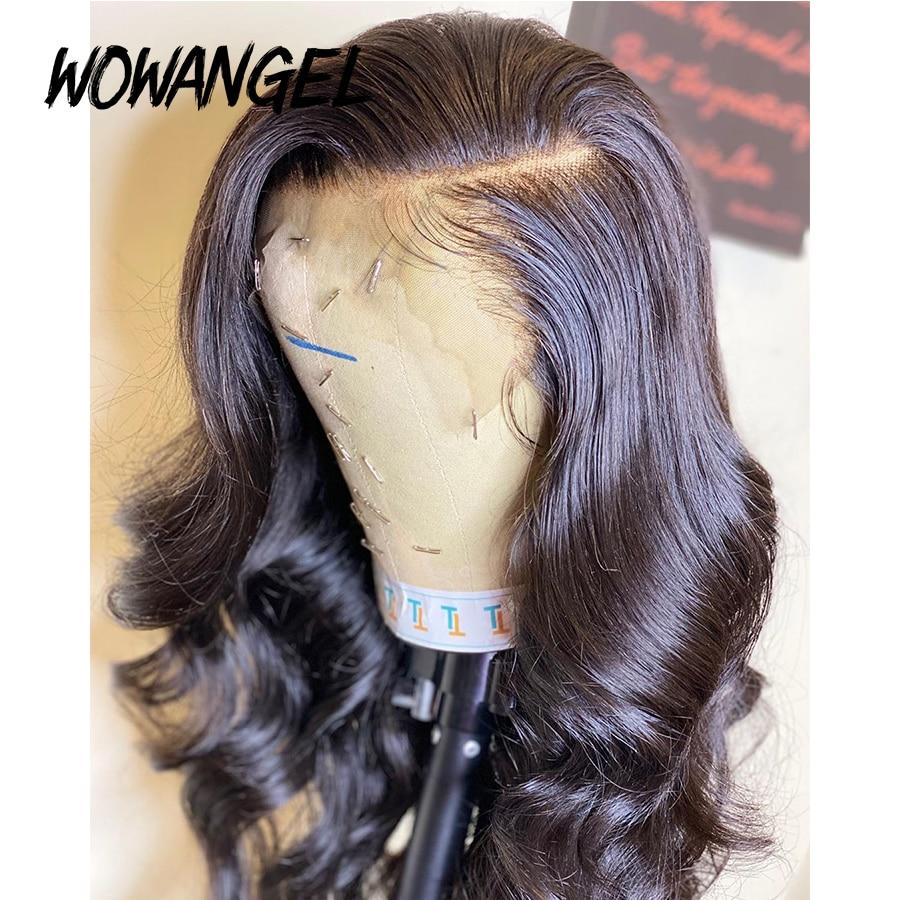 WOWANGEL Deep Parting 13x6 Lace Front Human Hair Wigs Pre Plucked Remy 150% Brazilian Body Wave Wig Bleached Knots
