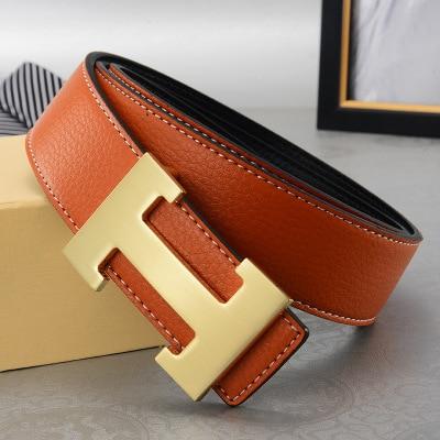 Men's Belt Leather Smooth Letter H Belt Buckle Belts  Buckle Luxury Designer Men High Quality Womens Belt 2020 3.8cm