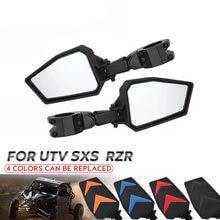 UTV Side Rear View Mirrors w/ Black Orange Blue Red Inserts for 2008-2020 Polaris RZR 800 900 1000 XP Turbo -1.75
