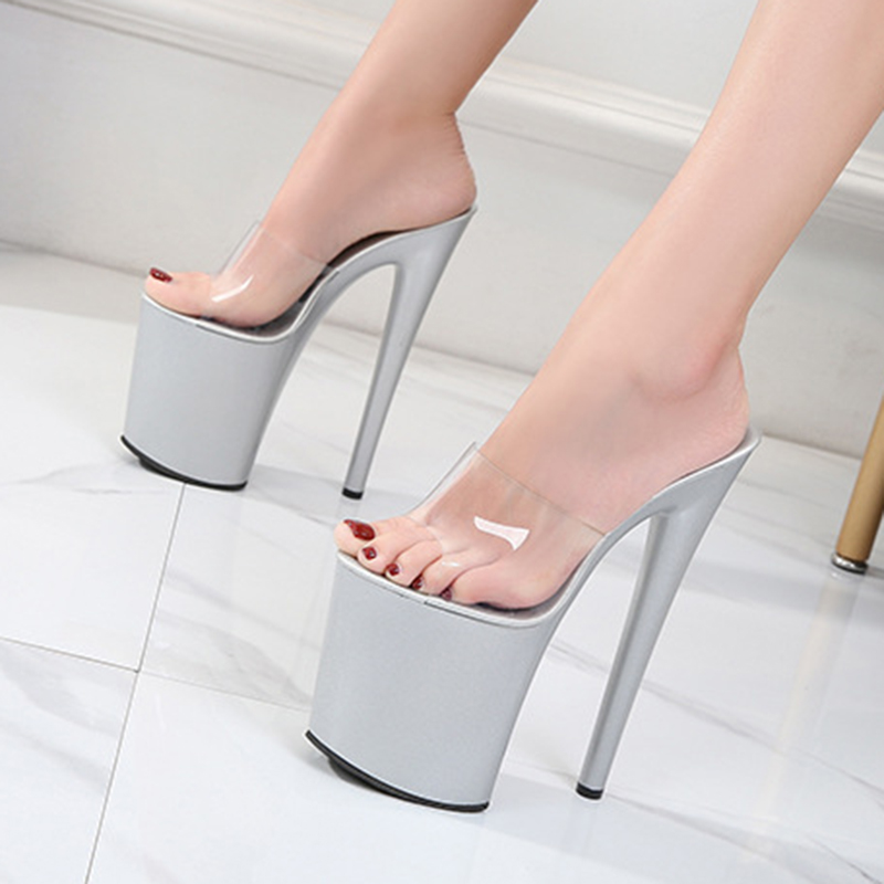 Ladies Pvc Jelly Slippers Open Toe High Heels Women Transparent Super High Heel Slippers Large Size 42 Sandals