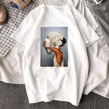 Harajuku Cotton Aesthetics T Shirt Sexy Flower Feather Print Short Sleeve Tops & Tees Fashion Casual Couple T Shirt trendy women trendy jewel collar half sleeve flower print t shirt for women