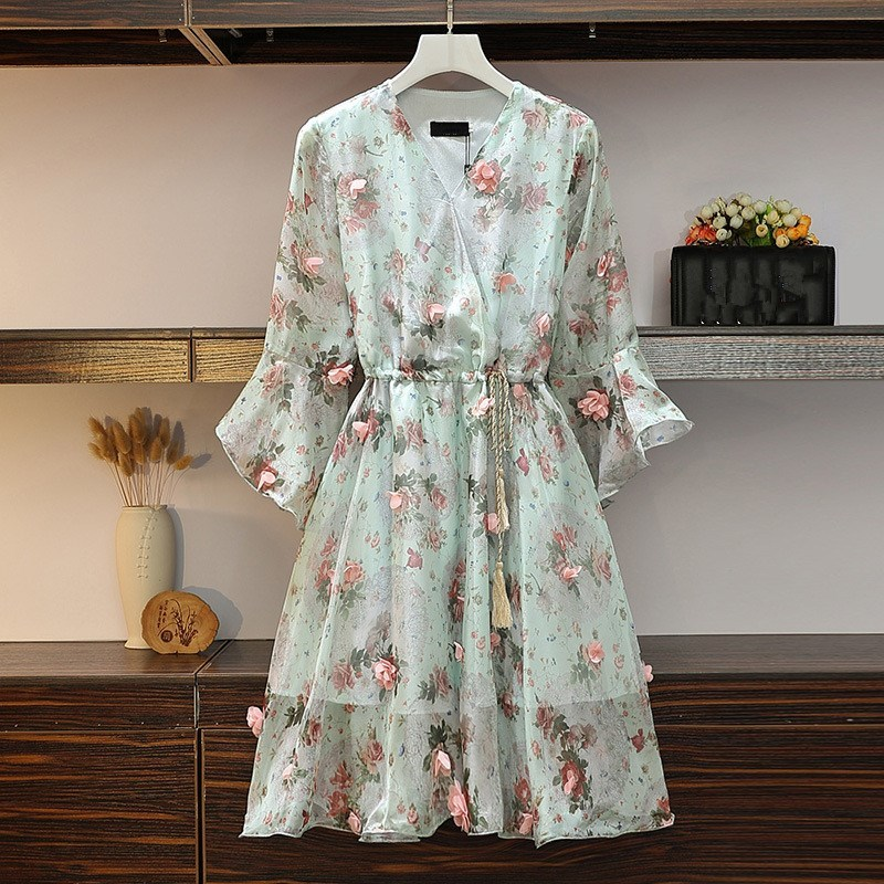 Women V-Neck Floral Appliques Chiffon Dress 2019 Summer Flare Sleeve Belt Flower Print Dress Empire Plus Size Mini Dresses 50