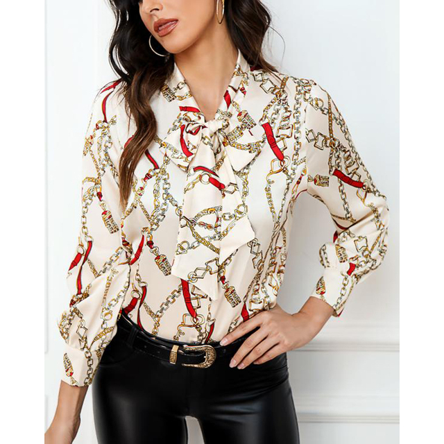 Blouse 2019 fashion new bow ladies office chiffon shirt casual chain print top 1