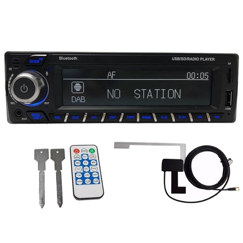 1Din DAB+ Receiver Car Radio MP3 Stereo Autoradio Support AM FM RDS Bluetooth USB SD AUX With DAB Antenna