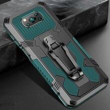 שריון עמיד הלם Coque עבור Pocophone X 3 פרו מקרה מגנטיות מחזיק חזרה קליפ כיסוי עבור Poxo Poko קטן Poco X3 NFC PocoX3 Funda