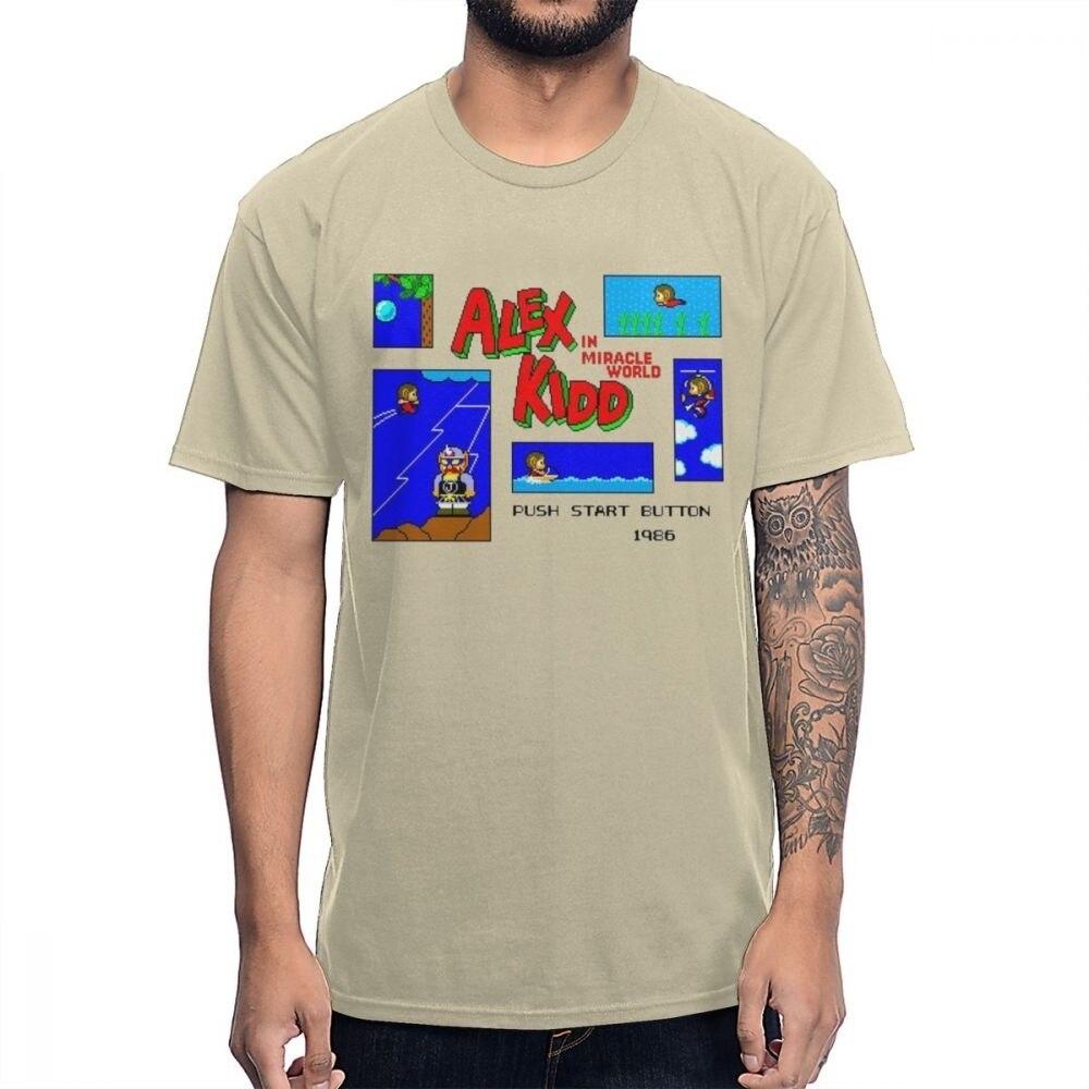 Camiseta Retro de talla grande Alex Kidd en el juego del mundo milagro Pixel 8 Bit de algodón Natural de dibujos animados de la Camiseta