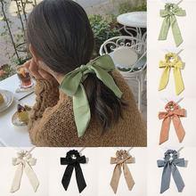 2020 niñas diademas con lazo de Color sólido dulce pelo Scrunchie coleta mujer bufanda accesorios para el cabello elásticos Cintas de Pelo