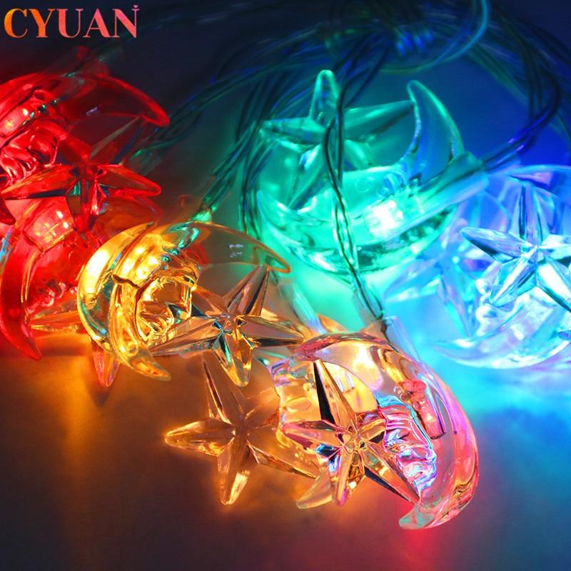 1m 10LED Eid Mubarak Decor Moon Star LED Light Muslim Islam Festival Event Party Supplies Eid Al-fitr Ramadan Kareem Decoration
