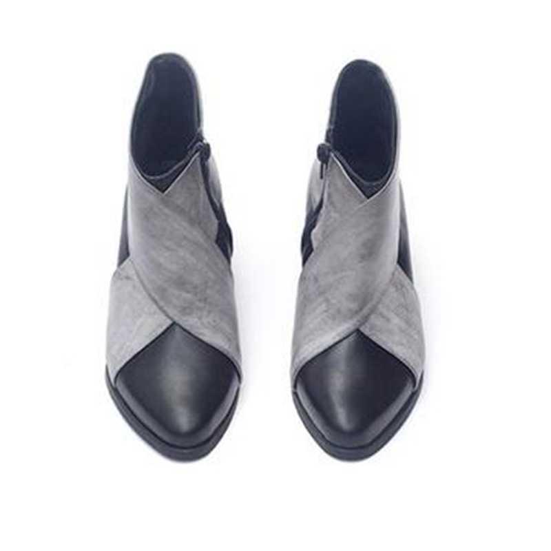 PUIMENTIUA kadın yarım çizmeler takozlar platformu bahar kadın yüksek topuk artan ayakkabı bayan elastik bant moda rahat ayakkabılar