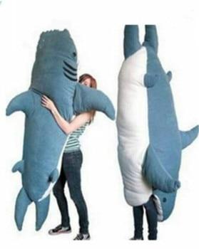 Giant Big Shark Sleeping Bag Beanbag Sofa Bed Plush Stuffed Soft Gift Pull Over fancytrader new style high quality shark 200cm x 140cm huge giant shark bed carpet sofa tatami 2 colors free shipping ft90358