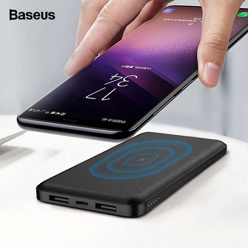 BASEUS 10000mAh Qi Wireless Charger Power Bank ภายนอกแบตเตอรี่ไร้สายชาร์จ Powerbank สำหรับ iPhone11 X Samsung Huawei Xiaomi