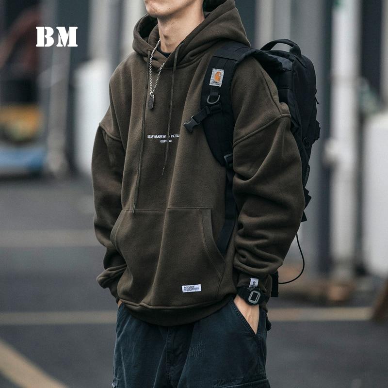 2021 High Quality Thin Fleece Hoodie Japanese Streetwear Hip Hop Sweatshirt Men Clothing Korean Couple Pullover Harajuku Coat