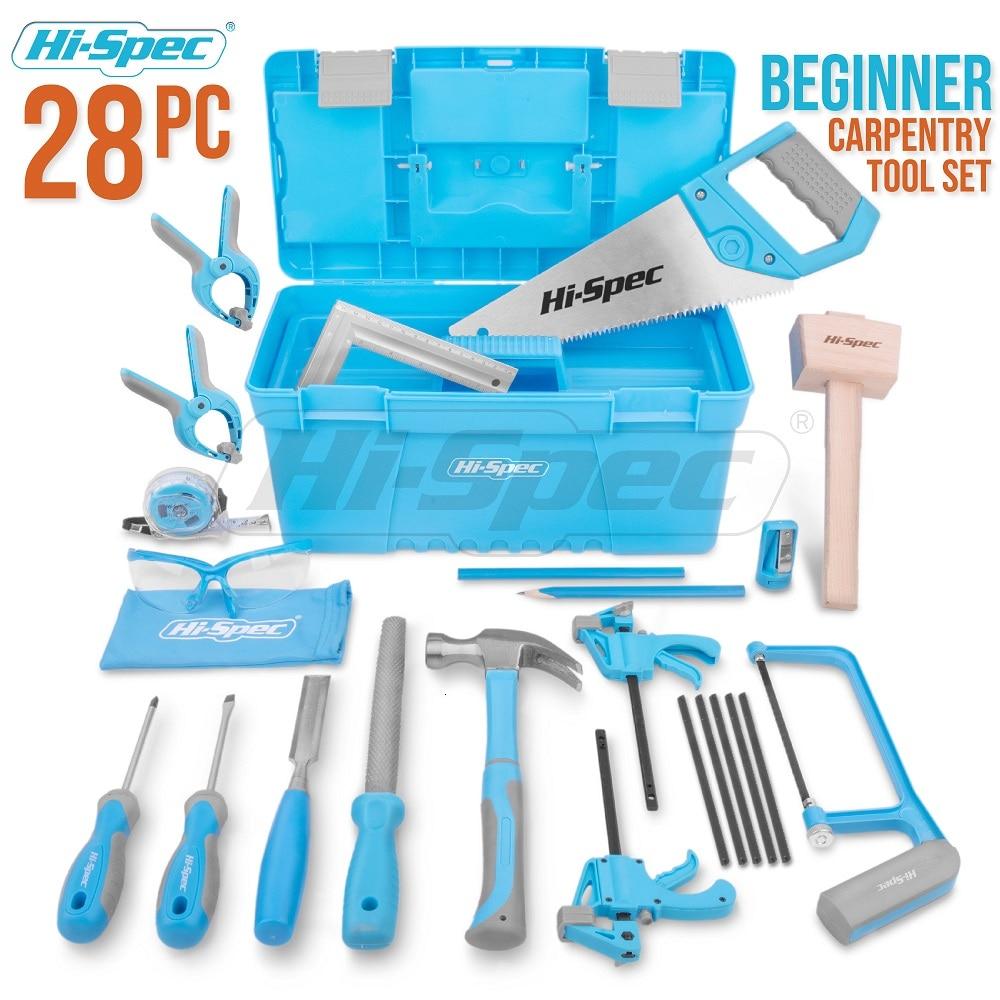Hi-Spec 25 Piece Real Children Kids Tool Kit Storage Box DIY Hand Tool Set Toy Gift Tools for Kids Boys Girls