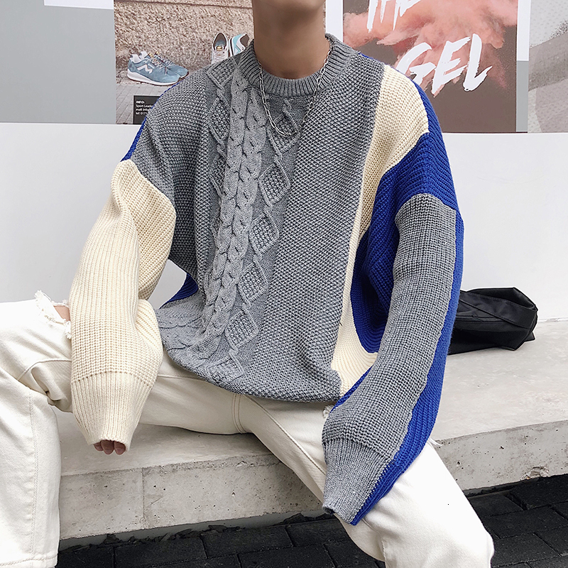 2019 Winter Men's Spelling Color Coats In Warm Clothes Woolen Sweaters Casual Cashmere Pullover Tide High-quality Knitting S-2XL