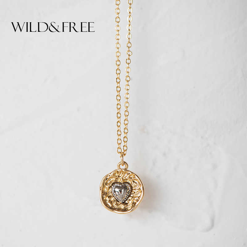 Wild&Free New Vintage Mix Color Alloy Round Pendant Necklace For Women Romantic Silver Heart Choker Necklace Collar Jewelry