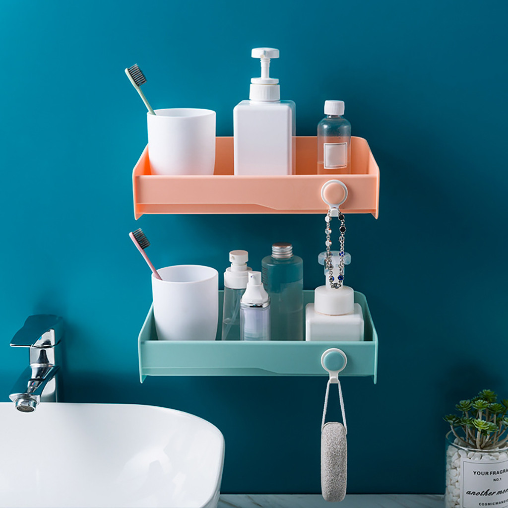 Punch-free bathroom shelf plastic toilet bathroom vanity wall hanging bathroom storage rack basket no trace stickers rack
