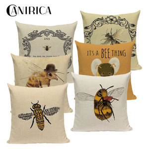 Bee Pattern Cushion Cover Cott