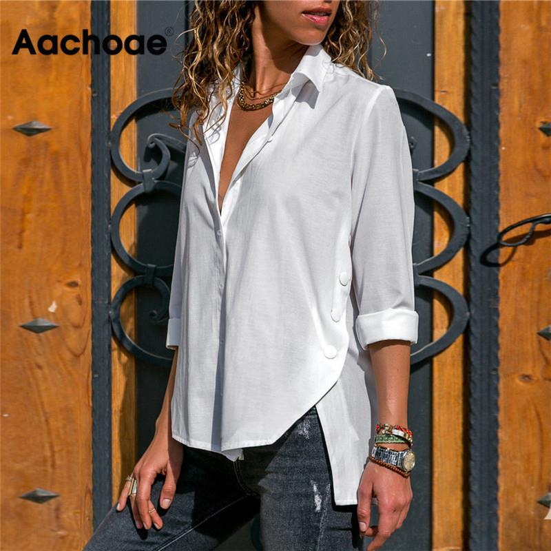 Aachoae Women Blouses Spring Summer 2020 Solid Button Blouse Long Sleeve Turn Down Collar Shirt Tunic Casual Loose Ladies Tops