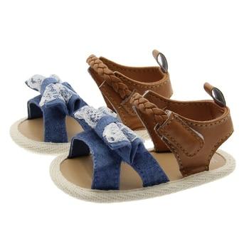 2020 Children Summer Shoes Newborn Infant Baby Girl Soft Crib Shoes Infants Anti-slip Sneaker Striped Bow Prewalker 0-18M - Model2-1, 13-18 Months